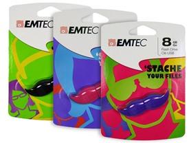 EMTEC Mustache 8GB USB Drive 3-Pack