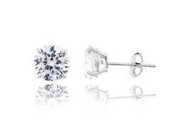 10kt White Gold CZ Earrings