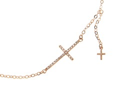 18kt Rose Gold Plated Sideways Cross
