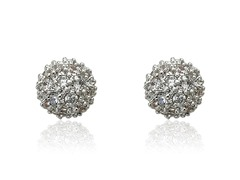Riccova Retro CZ Pave Ball Earring
