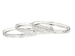 Silver Plated 3-Pack Diamond Cut Bangle Set