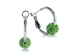 Fine Silver Plated Green Cystal Hoop