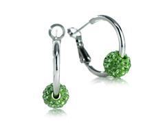 Fine Silver Plated Green Cystal Hoop