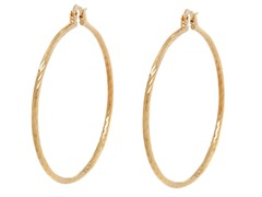 18k Plated Diamond Cut Hoop Earring