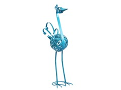 21-Inch Filigree Bird Statue, Light Blue