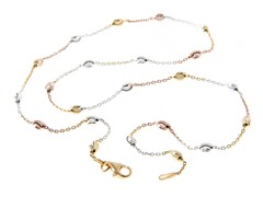 18kt Rose Gold Plated Oval Moon Chain