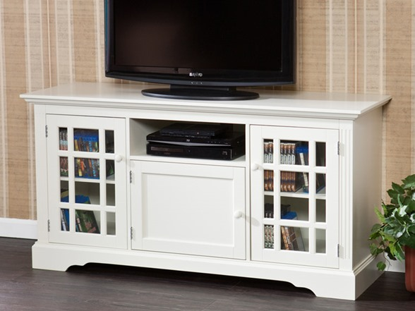 Sei cullerton tv media stand off white White tv console