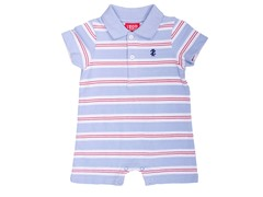 Lt. Blue/Red Striped Polo Romper (0-12M)
