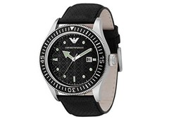 Black Black Leather Strap Men's Watch