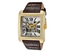 Men's See Thru Gold/Brown Leather Watch