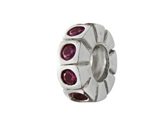 Sterling Silver Spacer w/ Red Swarovski CZ