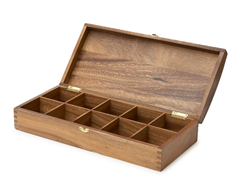 Acacia Wood 10-Slot Tea Bag Holder