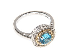 Silver & 14k Gold Blue Topaz Ring
