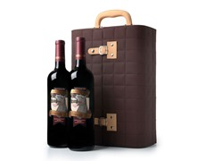 Adequate Gift (2) & Leather 2 Bottle Accordion Winebox