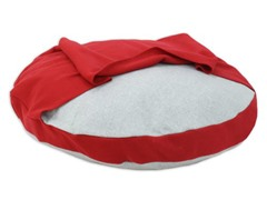 "Fleece 33"" Round Pet Bed with Red Hoodie"
