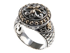 18kt Gold Accent & Silver Round Ring