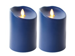 Luminara 2 Pk Indoor/Outdoor Flameless Navy Blue