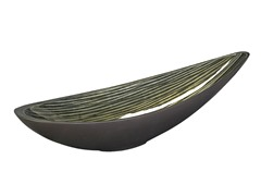 Green Striated Canoe Bowl