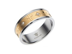 14k Gold Plated Steel & CZ Cross Ring