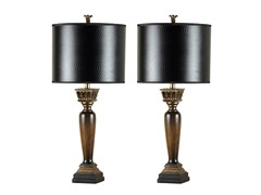 Quoise Wood Finish Lamp - Set of 2