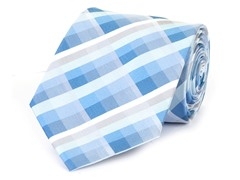 Silk Tie, Blue & White Checkers