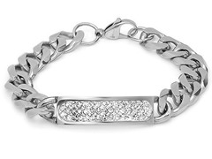 Stainless Steel Cuban Bracelet w/ Accent