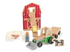 9-Piece Wooden Farm & Tractor