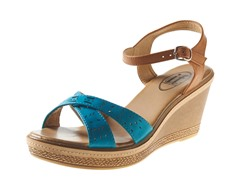 Carrini Wedge Sandal, Blue/Tan