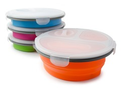 Three Compartment Round Lunch Box 4-Pack