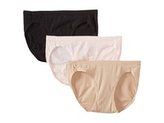Hanes 3-Pk Cotton Panties, Pink/Black/Nude