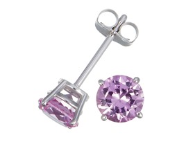 Pink Sapphire Stud Earrings, 1/4CTTW or 1/2CTTW