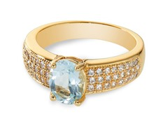 14K Plated Blue Topaz & CZ Ring