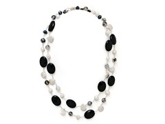 SS Gemstone & Freshwater Pearl Necklace