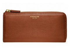Coach Legacy Leather Slim Zip Wallet, Cognac