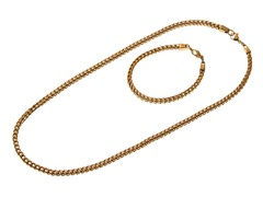 18kt Gold Plated Franco Bracelet & Necklace