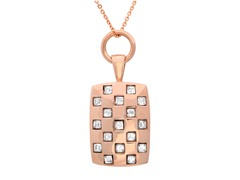 18 kt Rose Gold Plated Square Pendant