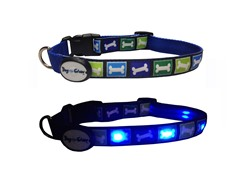 Dog-e-Glow Blue Bones LED Lighted Collar-Medium