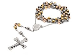 3-Tone Stainless Steel Rosary Necklace