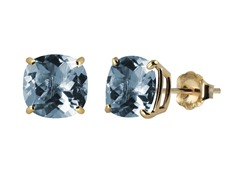 10K YG Stud Earrings, Created Aqua