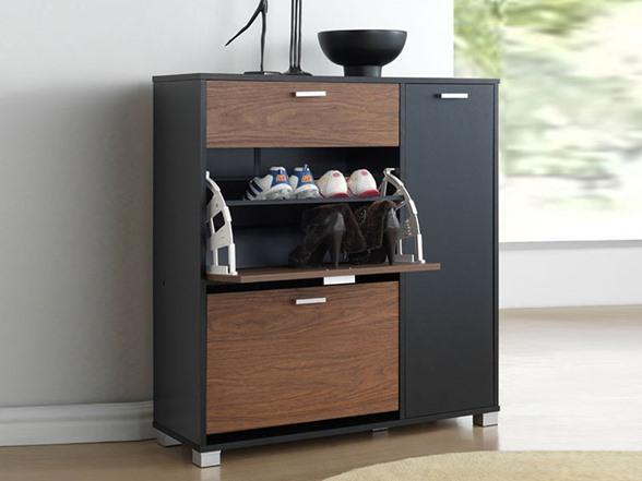 Chicago Shoe Storage Cabinet-Walnut/BLK