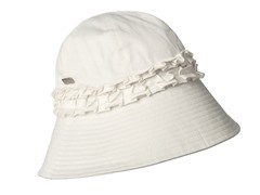 Gardenia Fabric Cloche Hat, White