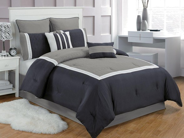 grey and navy bedroom contempo 8pc comforter set 2 sizes 15484