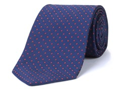 Silk Tie, Navy w/ Red Polkadot