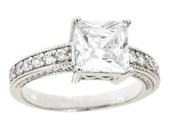 18kt WG Plated Princess Cut Sim Diamond Engagement Ring