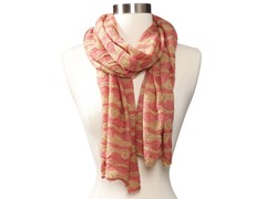 Anne Klein Scallop Stripe Neckwrap, Peach