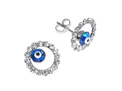 SS Round Evil Eye Blue CZ Stud Earrings