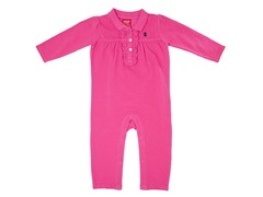 Girls Hot Pink Ruffled Coverall (3-12M)