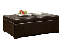 Abbyson Living Frankfurt Leather Double Storage Ottoman