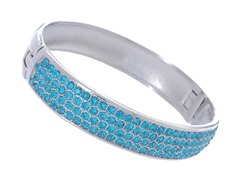 Stainless Steel Bangle w/ 4 Rows Of Blue Zircon Swarovski Crystals