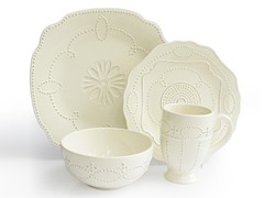 Gabrielle Scallop Cream 16-Piece Dinnerware Set